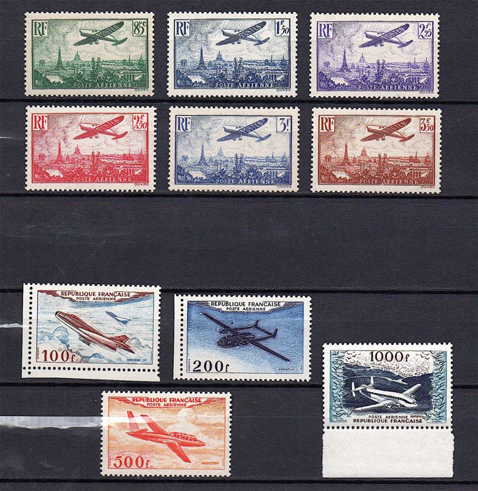 France 1936/1954 - Air Station-Series Aircraft and Prototypes - Yvert PA 8/13 et 30/33