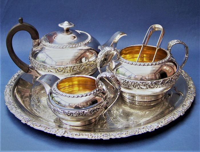 Victorian Art Nouveau English Silver Plated Tea Set, Tray & Sugar Tongs