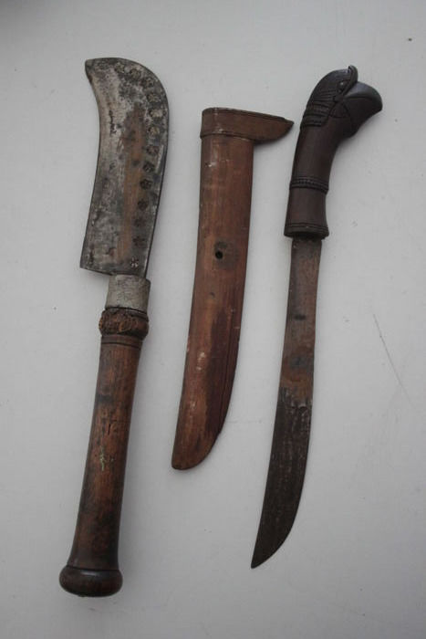 African Knife with Sheath and Small Machete