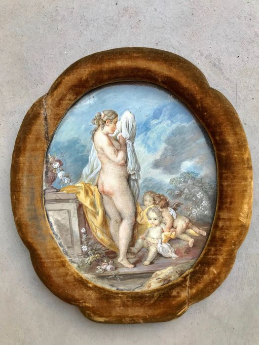 Venus and Amor - Miniature painting - Gouache on paper, in an oval frame, lined with suede fabric - France - 19th century