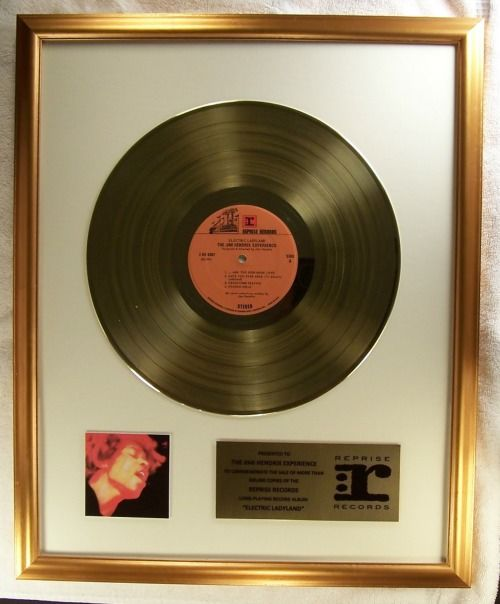 """The Jimi Hendrix Experience """"Electric Ladyland"""" LP Official In-House Award Gold Record Award Reprise Records"""