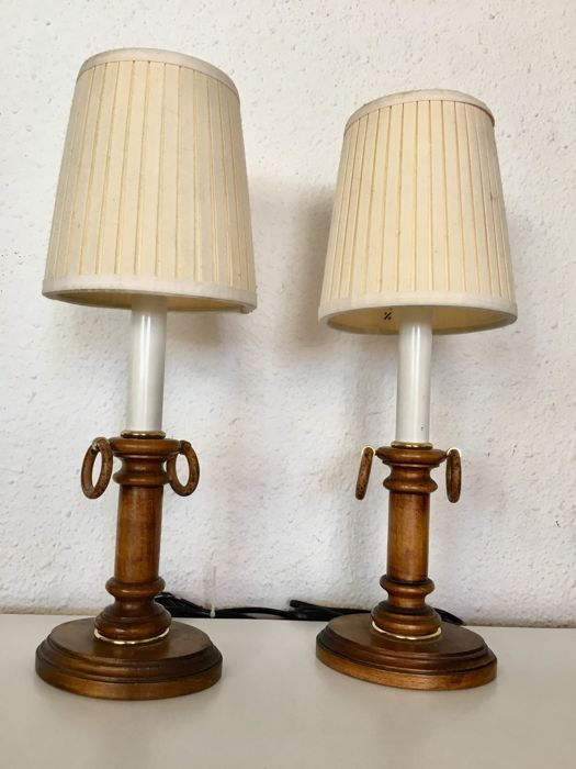 Pair of lamps - wood with hoops - France