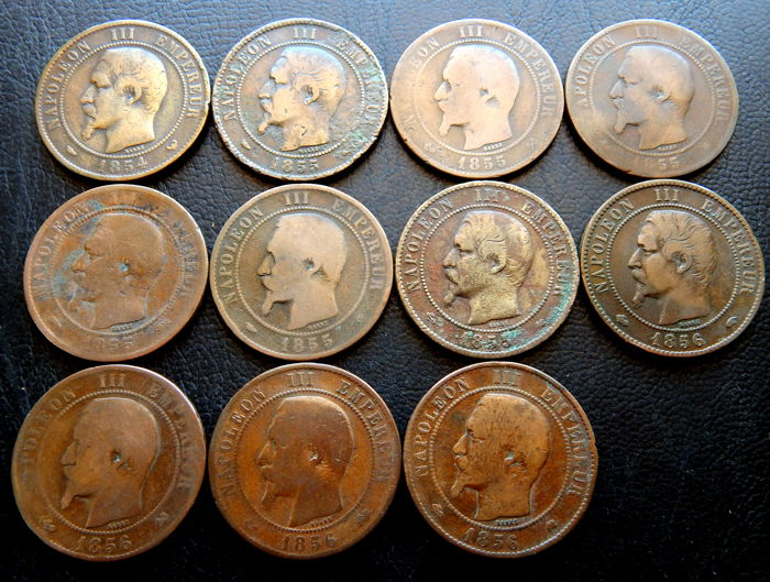 France - 10 Centimes 1854/1856 Napoleon III (11 coins