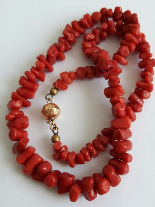 Precious coral necklace with a 14 kt antique gold paston clasp - Weight 33 grams