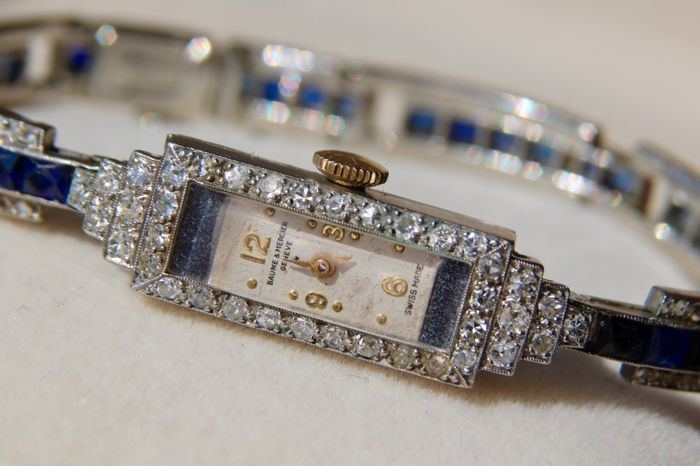 Art-Deco platinum Baume & Mercier watch with natural old cut Diamonds (2,26ct) and Sapphires (6,74ct) from around 1930