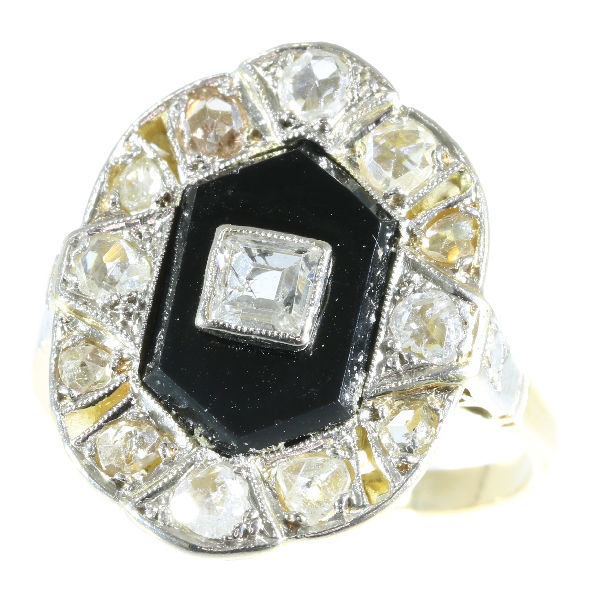 Beautiful Art Deco diamond and onyx gold ring - anno 1930