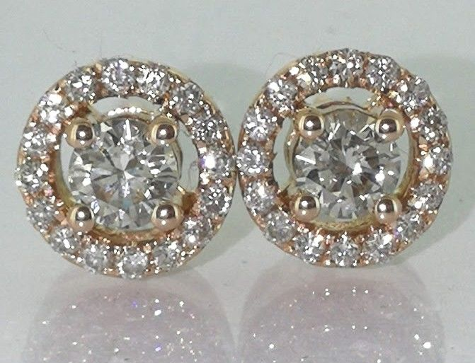 Stud earrings set with 34 diamonds 0.70 ct in total