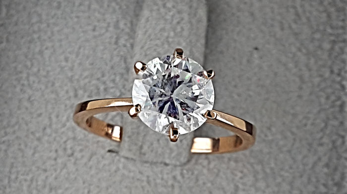 AIG 1.88 carat Round enhanced Diamond Solitaire Engagement Ring in Solid Pink Gold 14K