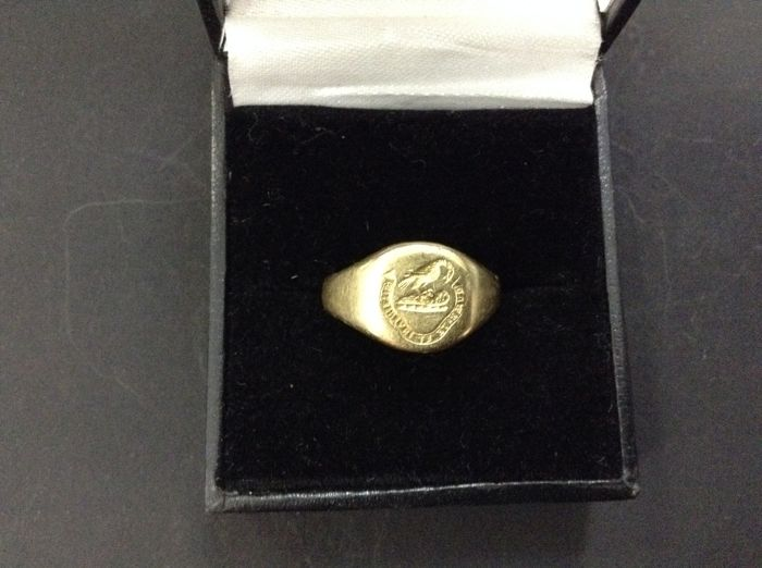 Vintage 18k gold signet ring by Charles Green & Son.