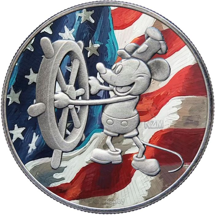"Niue - 2 Dollar 2017 Steamboat Willie Mickey Mouse ""US-Flag"" 1 oz - Silver"