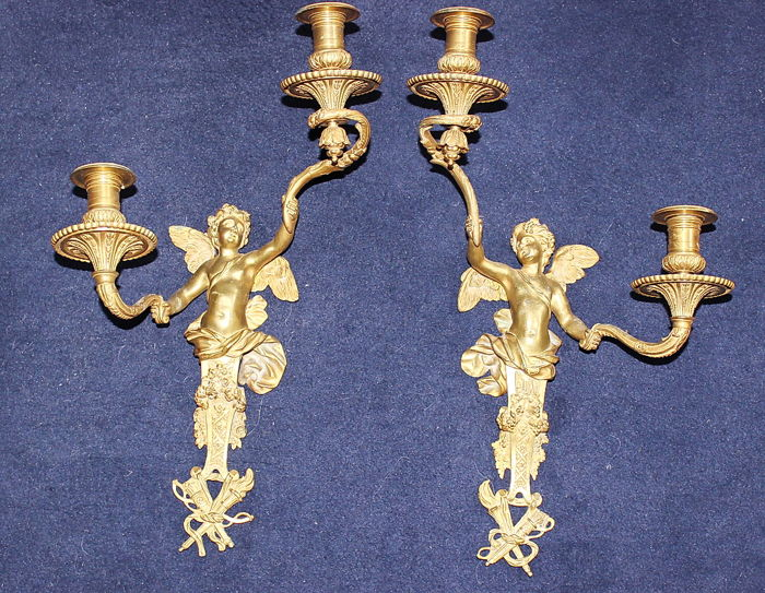 Pair of gilded bronze wall sconces by Henri Dasson, France, 1887