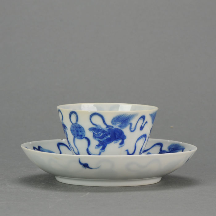 Porcelain Dish + Bowl with Foo Lion, Marked Base, Qing Dynasty, 19th century