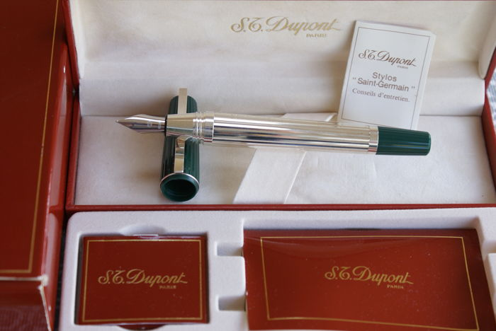 "Very rare ST DUPONT ""Saint Germain"" XL fountain pen  silver-plated new from 1980."