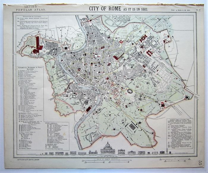 Map Of London 1900.Italy Rome Letts Son Co Ltd London City Of Rome As It Is In 1882