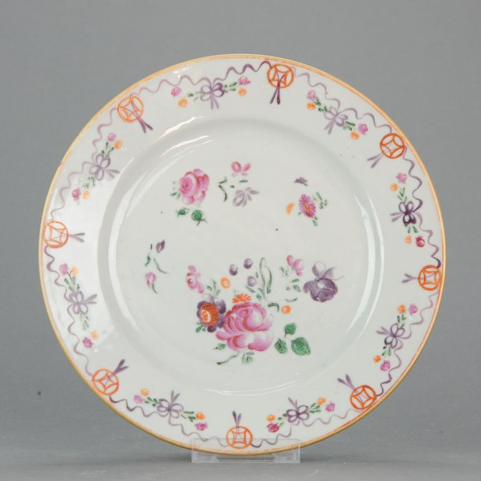 PERFECT CONDITION Lovely Famille Rose COINS Serving Plate - China - 18c
