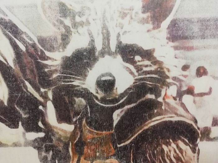 ROCKET RACOON - Original artwork on a wooden plate - Size: 29,8 x 42 cm. - First edition - (2018)