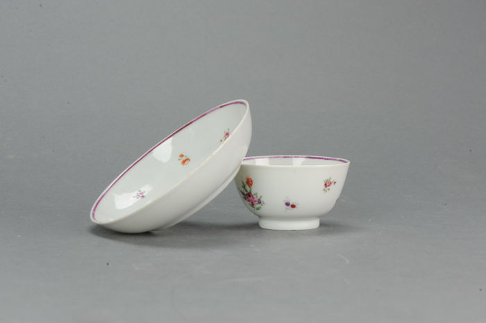 Porcelain Dish + Bowl with Famille Rose Lowestoft, Qing Dynasty, 18th century
