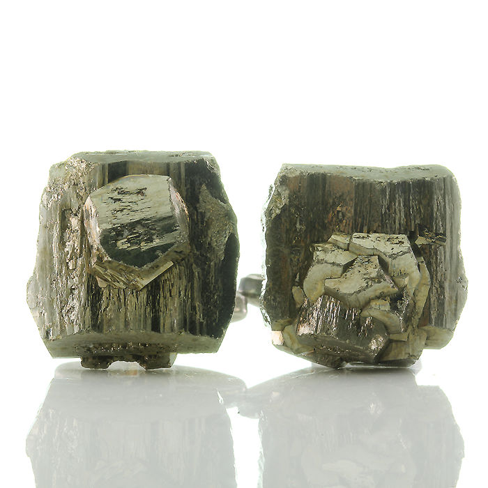 Modernist pyrite fool's gold cufflinks in 835 silver, vintage around 1970