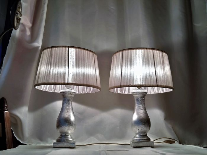 Concrete Lifestyle Heavy Silver Dusk Table Lamps With Large Qualitative