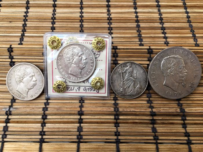 Kingdom of Italy - Lot of 4 silver coins