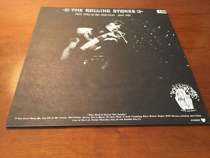 The Rolling Stones on Blue splatter vinyl with 1975 tour of