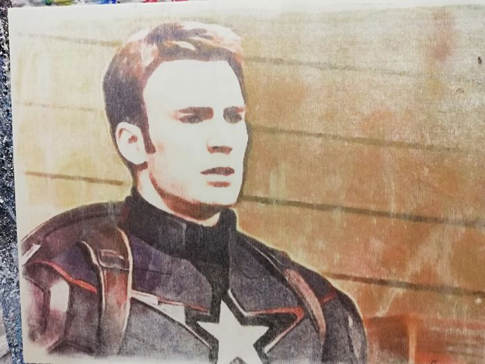 CAPTAIN AMERICA  - Original artwork on a wooden plate - Size: 29,8 x 42 cm. - First edition - (2018)