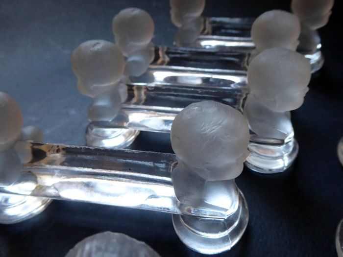 6 antique and decorative BACARAT Crystal Art Nouveau - little knife rest from the catalog 1903/04 - rare.