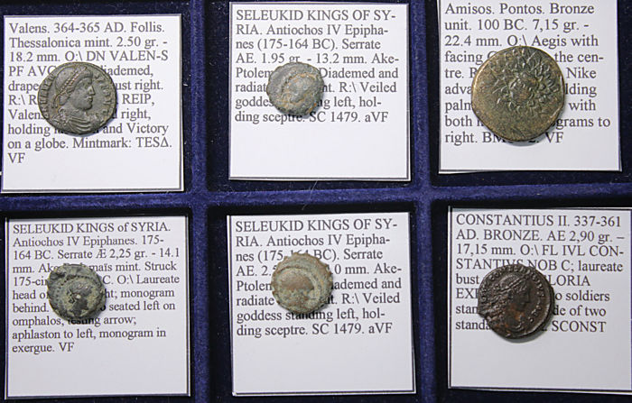 Greece (ancient), Roman Empire - Lot comprising 6 AE coins:  c. 100 BC -200 AD (6x)