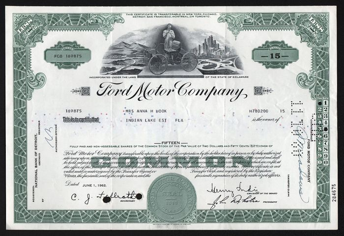 Share Certificate - Ford Motor Company - 1962-1962 (1 items)