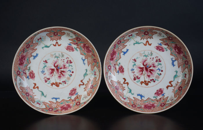 Set of Famille Rose porcelain plates - China - 19th century