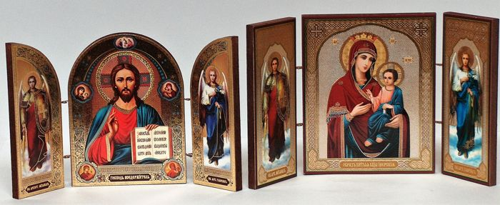 "Icons travel  - 2 triptych -""Image of the Blessed Virgin of Iverskaya "" and – ""Lord Almighty"""