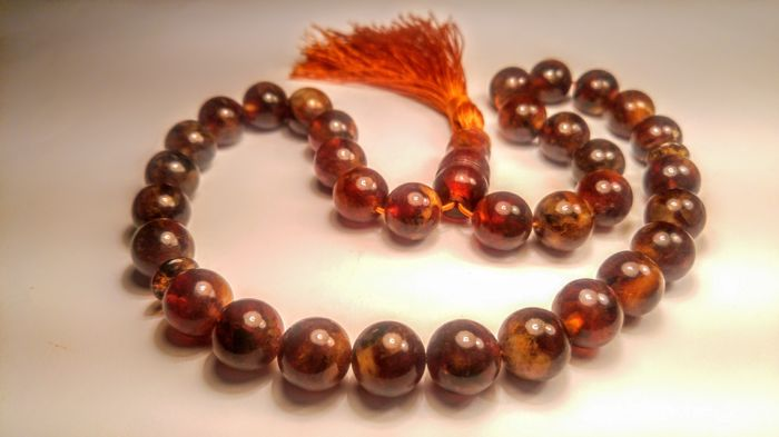 Round beads Baltic Amber Prayer Tesbish 33 beads, length 33 cm, 47 grams