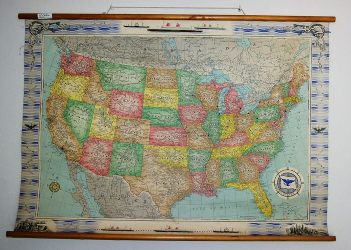 Map of the USA - made by famous Rand McNally company, Chicago