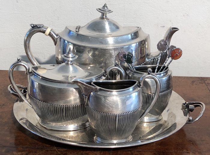 James Deakin & Sons - a silver plated teaset and a Danish tray - ca. 1870
