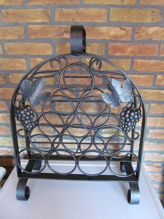 Heavy Wrought Iron Wine Rack For 10 Bottles France Mid 20th