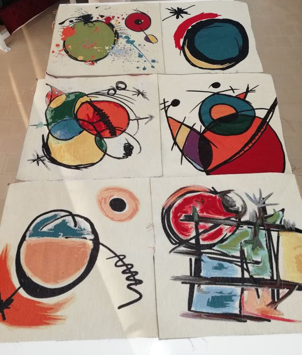 47 x 47 cm - Gobelin fabric tapestries with Joan Miro theme, six different figures that reflect the great style of Joan Miro