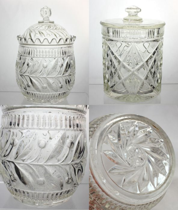 Lot of 2 Victorian and Art Deco glass biscuit barrels - Rare to find lovely cherry pattern, England, Ca. 1890-1930s