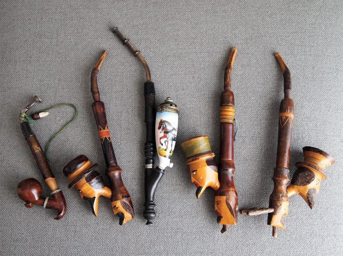 Collection of 5 old German Bruyere and Italian Double headed woodcarved tobacco pipes