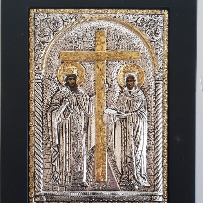 St. Constantine & Helen Silver Icon, 20th C/ Greece