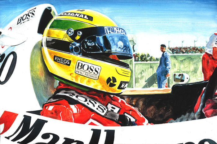 Ayrton Senna McLaren Honda F1 Cockpit ORIGINAL Acrylic Painting on Canvas hand-made by Artist Andrea Del Pesco + COA.