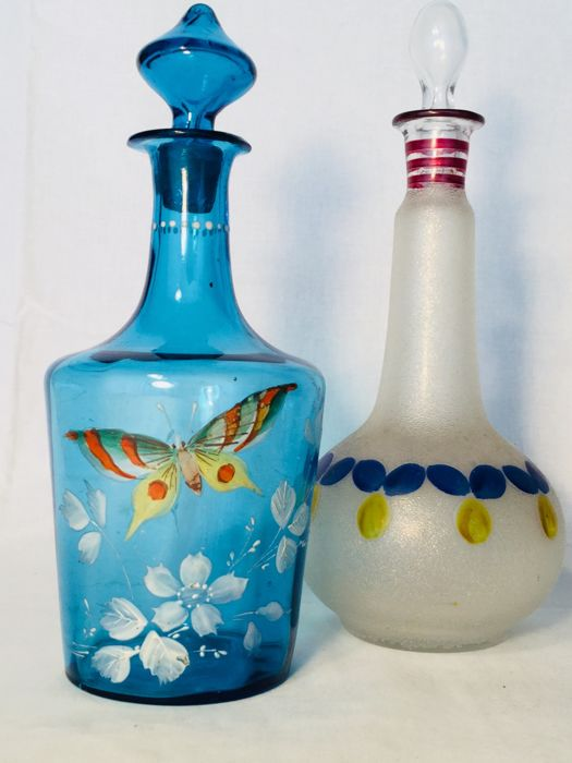 Two old glass decanter bottles with beautiful enamelled decoration __ ca 1920 and 1940 France