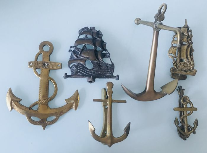 Chic Set Of Nautical Items   Three Door Knockers, Two Ornamental Anchors, A  Bronze