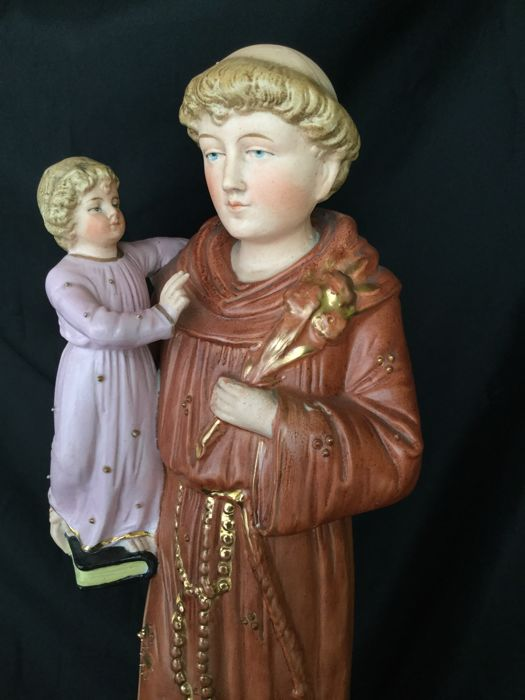 Beautiful polychrome bisque porcelain statue - Saint Anthony of Padua with child Jesus - circa 1900 France
