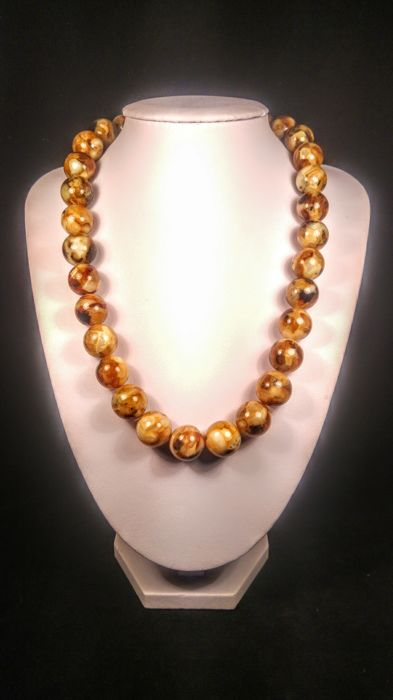 Beautiful landscape colour modified  Baltic amber necklace, length 50 cm, 66 grams