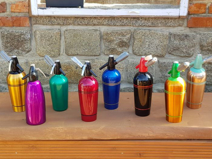8 pieces of soda siphon bottles collection original 70s