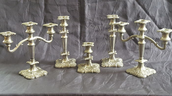 Set complet of five heavy silver plated candlesticks - England