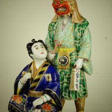 A porcelain group of two No theater actors - Japan - early 20th century