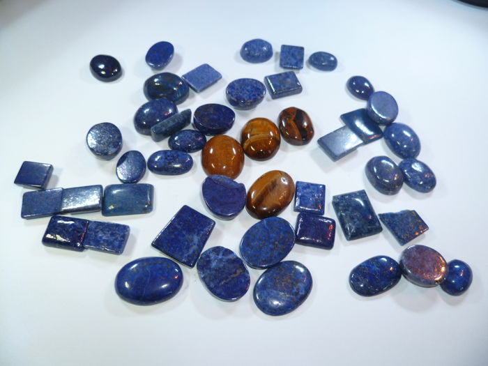 Lapis lazuli and Tiger eye Cabochons - (46)