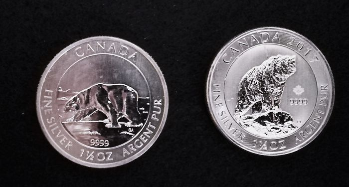 "Canada - 8 CAD - 2017 ""Grizzly Bear"" - 2013 ""IJsbeer"" - 2 x 1.5 oz - Argent"