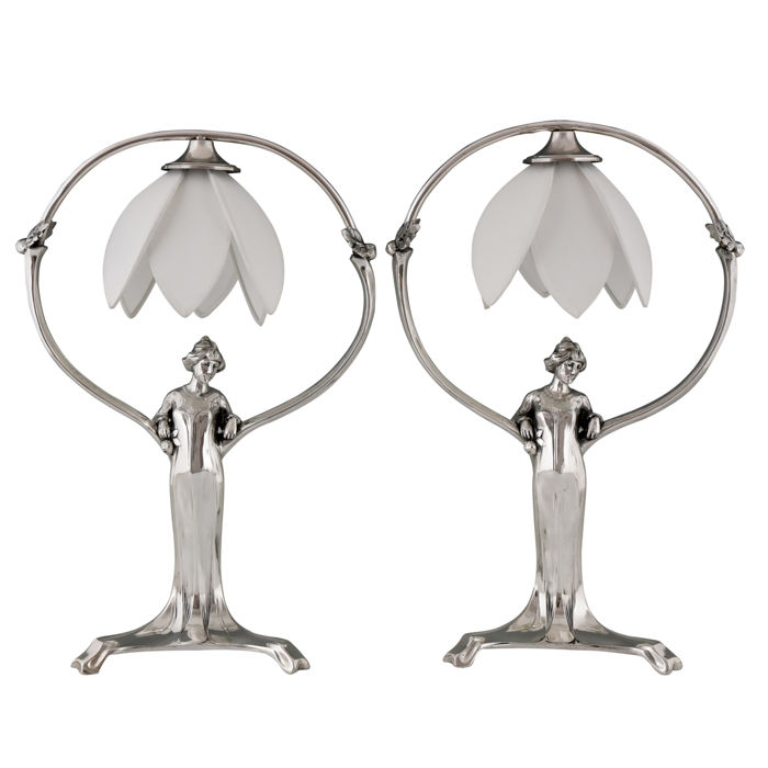 Pair of Art Nouveau silver-plated metal table lamps in the form of standing women - WMF - style